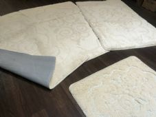 ROMANY WASHABLES  MATS SETS NON SLIP SUPER THICK RUGS CREAM GYPSY MATS 18mm